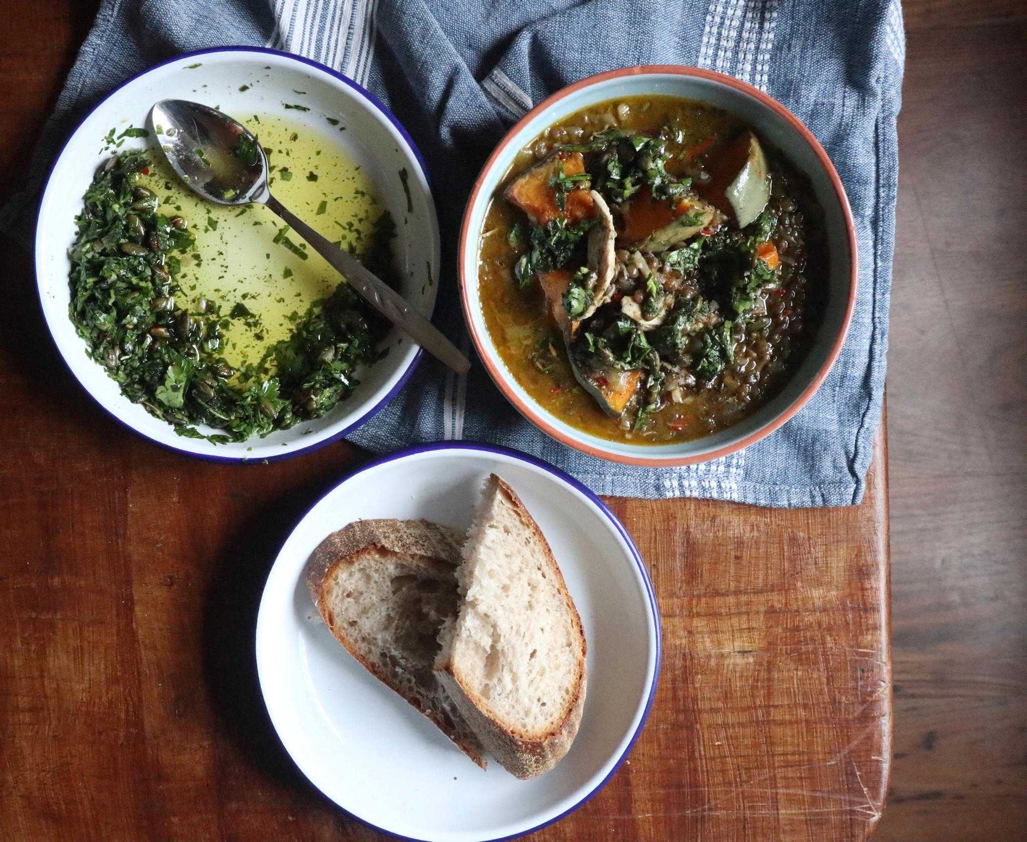 Chicken, squash & lentil stew with sage & pumpkin seed pistou