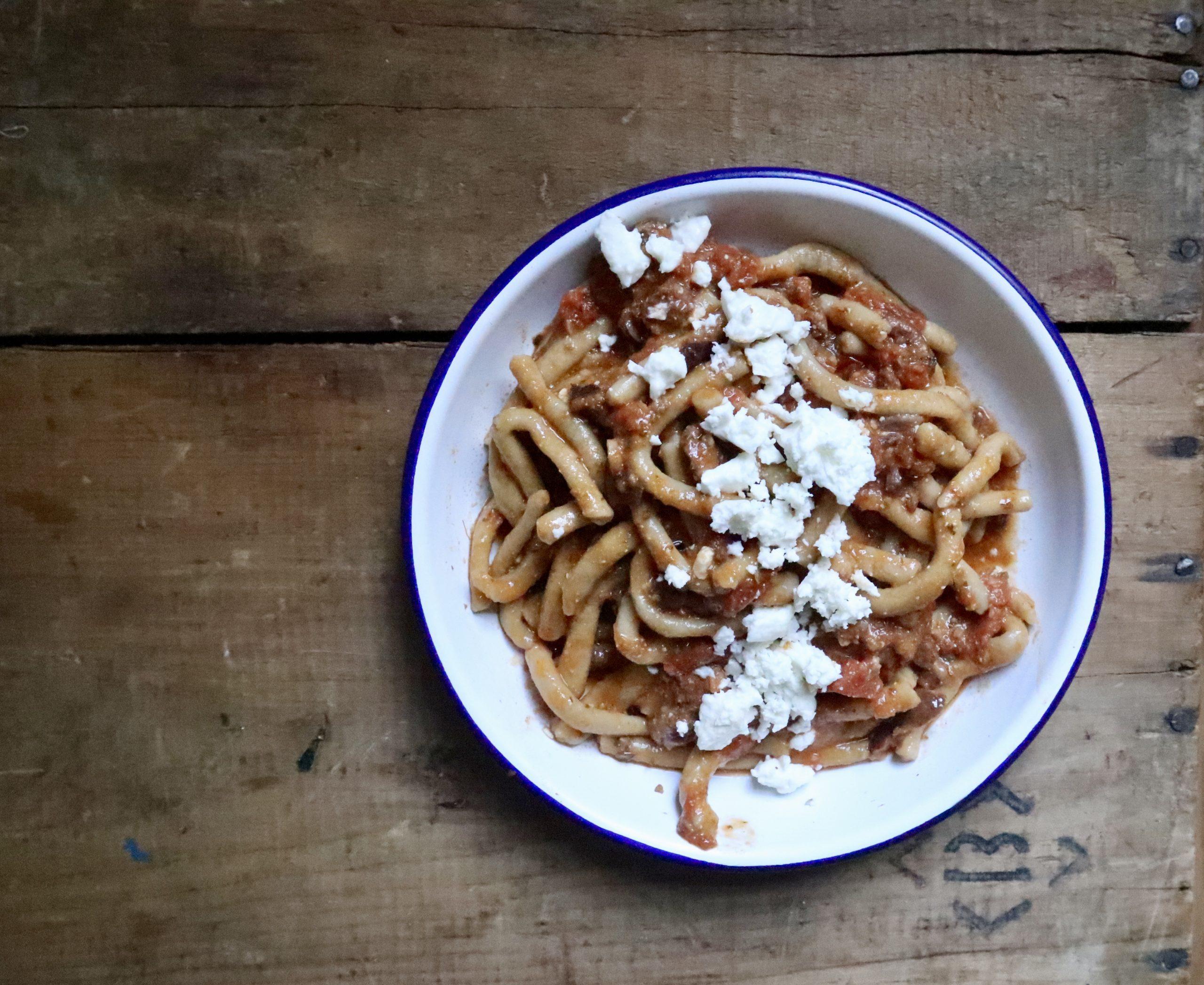 Pici with roasted tomatoes, chorizo & olive