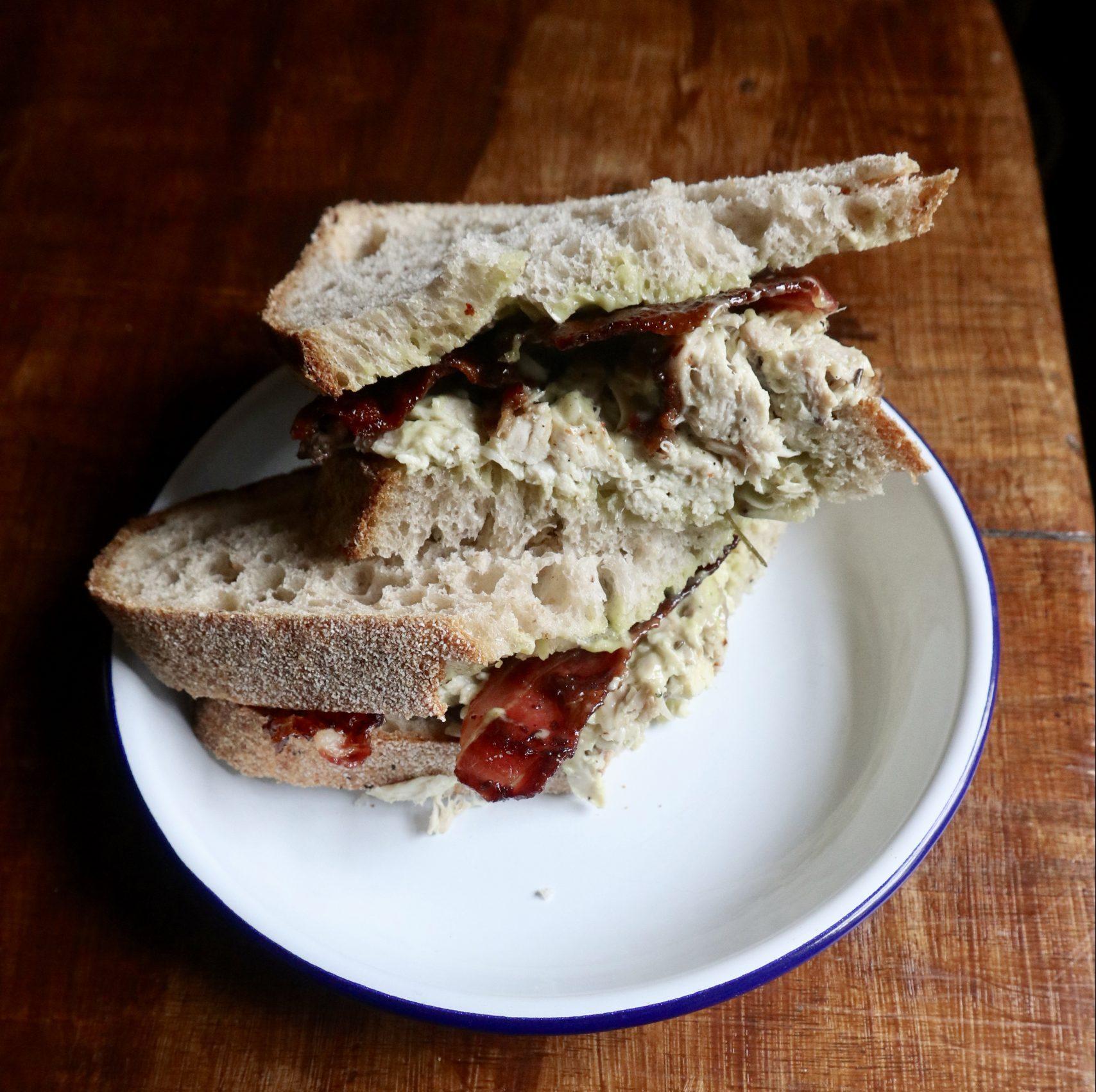 Chicken, crispy bacon and tarragon aioli Sandwich