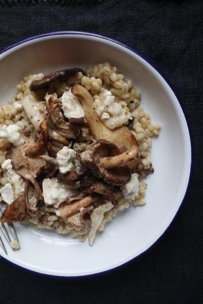 Mushroom, barley and goats cheese risotto